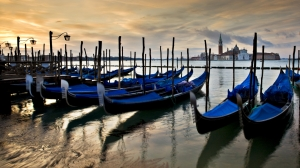 Picturesque Venice - paint gondolas by the harbour