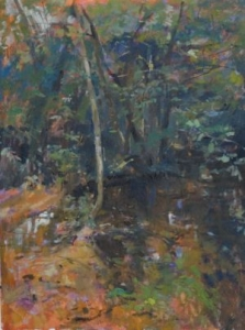 The River, St, Martin Chateau, Oil on board.