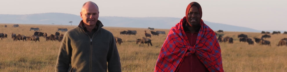 Big Cat Diary presenters Simon King & Jackson Looseyia hosting a safari