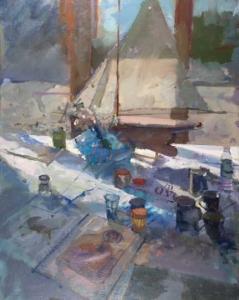 Richard Pikesley Pond Yacht, May Sunshine 30 x 24 oc