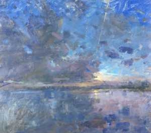Richard Pikesley Flood, Evening Sky, Frome Valley 18 x 20 oc