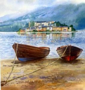Terry Harrison boats Lake Orta
