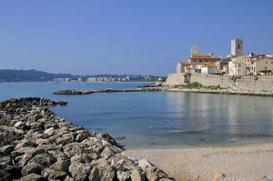 Mediterranean sea and walled town of Antibes
