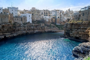Polignano a Mare, Scenic small town built on rocks in Bari, Apulia, Italy